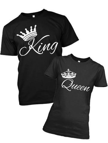 Couple Tee - KING - QUEEN CROWN T-SHIRTS FOR COUPLE, ON SUMMER SALE