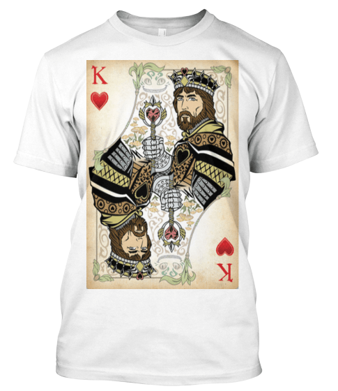 KING - QUEEN OF HEARTS POKER TEE, ON SUMMER SALE