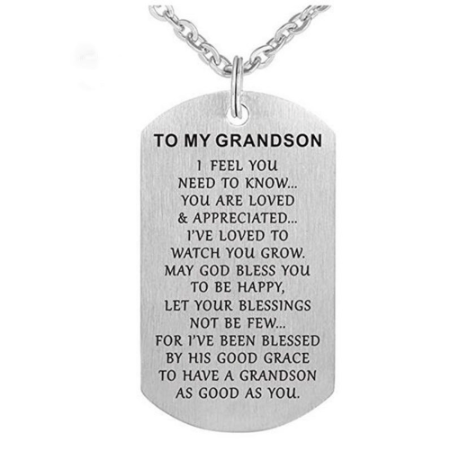 Grandpa To Grandson Necklace. 50% Off. Double sided engraved 100% exclusive