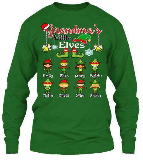 Grandma - Grandma's Grandpa's Little Elves Kids/Grandkids Names (Flat 70% Off) Long Sleeve And More