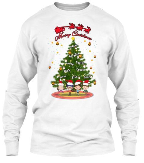 Grandma - Merry Christmas With Your Kids/Grandkids Names (Flat 70% Off) Long Sleeve And Hoodies.