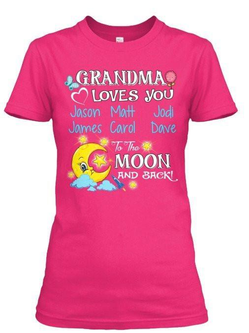 Grandma - Moon And Back Pink Custom Shirt  ( 70% Off)