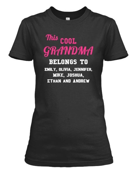 Grandma - Proud Grandma Custom Long Sleeve With Grand Kids Names ( 50% Off For Today)