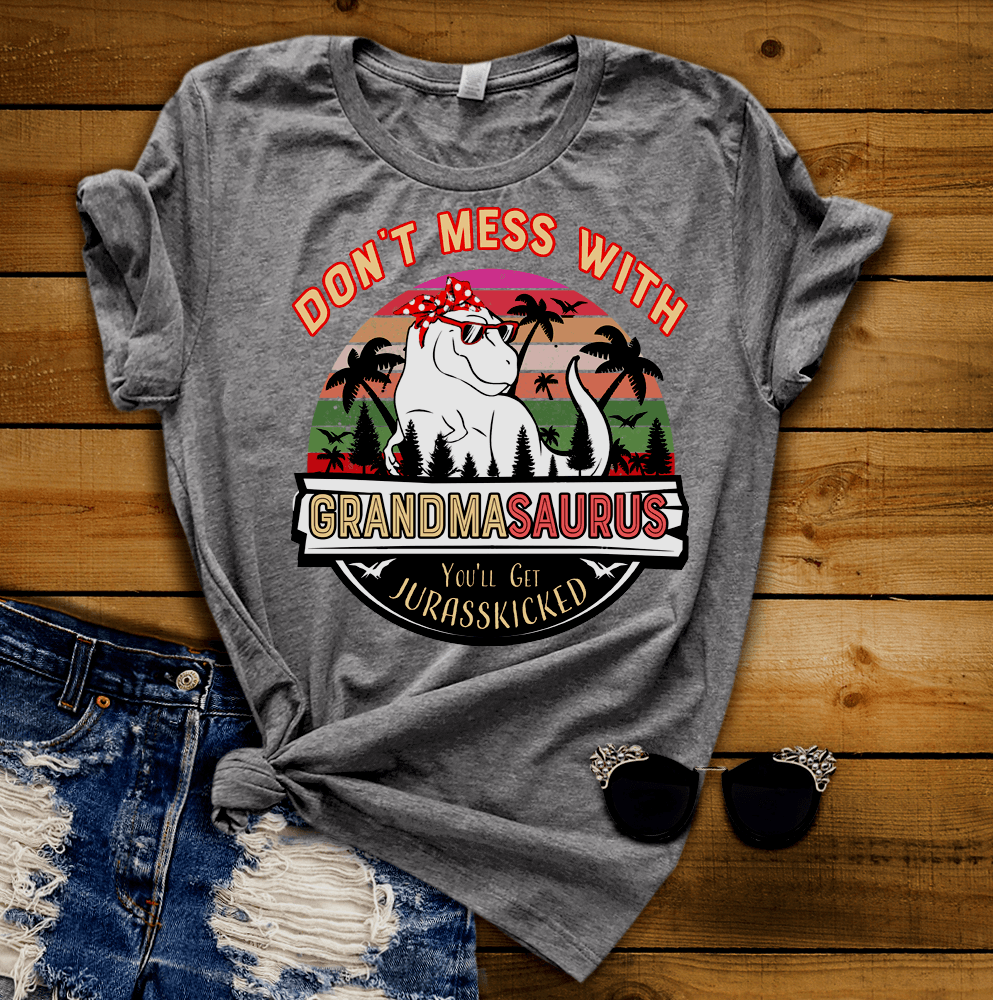 Mess with my grandkids and you/'ll get Jurasskicked by Gran Grandpasaurus Shirt