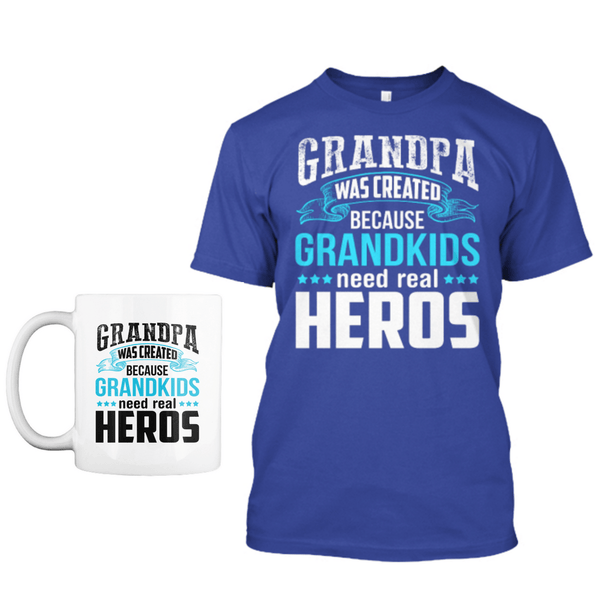 Grandpa - Grandpa Was Created The Hero - Custom Shirts & Mug Combo