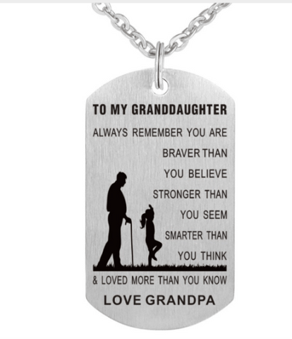 Grandpa To GrandDaughter Necklace. 50% Off.