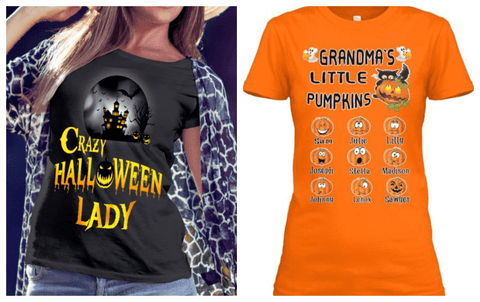 """2 Combo Pack Shirt(Pumpkin and Halloween Lady design)""(Flat Shipping)"