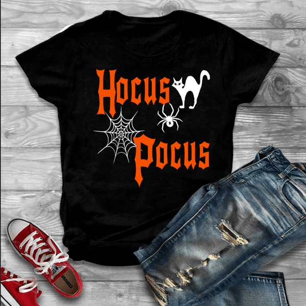 """HOCUS POCUS""(50% Off Today) Flat Shipping.(HALLOWEEN SPECIAL) BLACK AND GREY T-SHIRT"