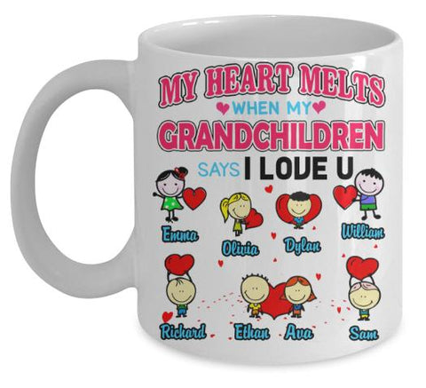"Mug - ""Coffee With Grandkids"" Custom Grandkids Names Love Mug For Grandma Valentines Special"