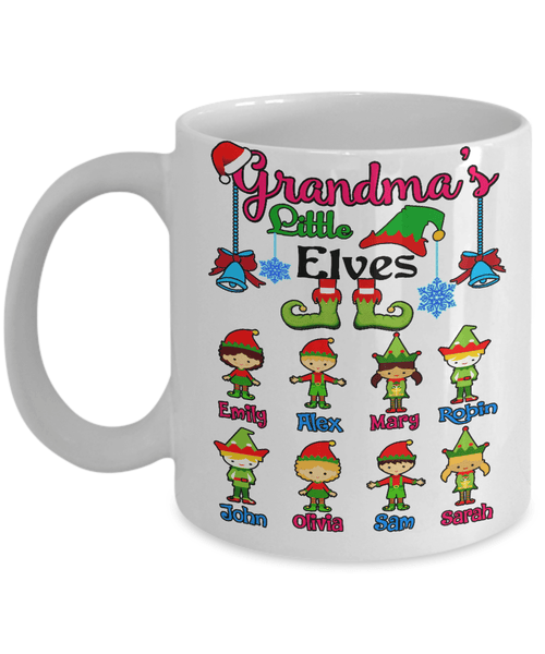 "Mug - ""Hot Coffee With Grandkids"" Custom ""Elves Mug"" Christmas Special"