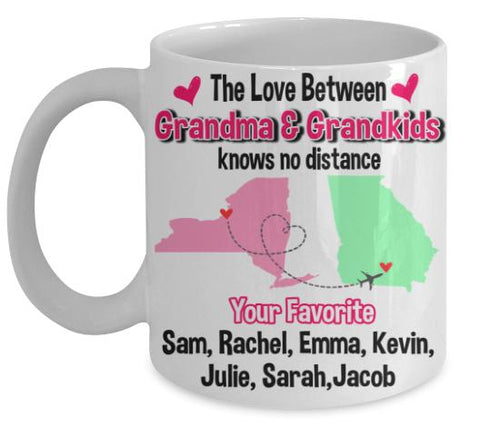 "Mug - Love Knows No Distance."" Mug For Grandparents"