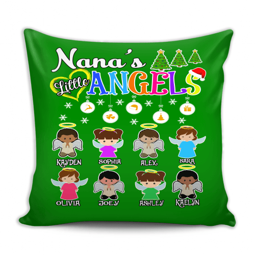 Pillow - Nana's Little Angels Pillow Cover, Custom Pillow Cover With Grandkids Names.