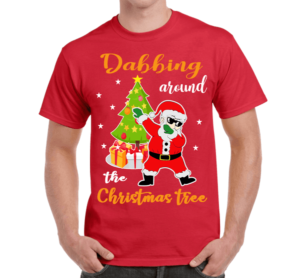 """DABBING AROUND THE CHRISTMAS TREE"" (UNISEX T-SHIRT) - RED"