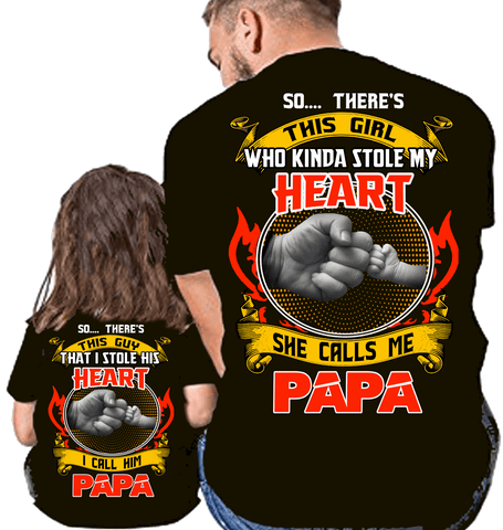 "T-shirt - ""Stole My Heart Father And Daughter"" Combo T-Shirt Pack(50% Off Today)"