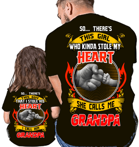 "T-shirt - ""Stole My Heart Grandpa And GrandDaughter"" . 50% OFF. Add Shirts For Grandparents And Grandkids One At A Time To Cart. Flat Shipping. Discount Today Only."