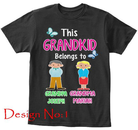 "T-shirt - This Grandkid Belongs To"" KIDS T-SHIRT (50% OFF Today) Buy For All Kids. Grandparents And Parents Names"
