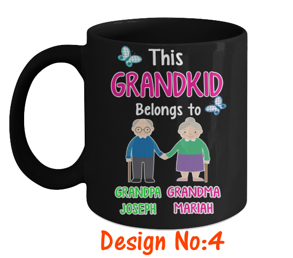 "T-shirt - This Grandkid Belongs To"" Mugs (50% OFF Today) Buy For All Kids. Grandparents And Parents Names"