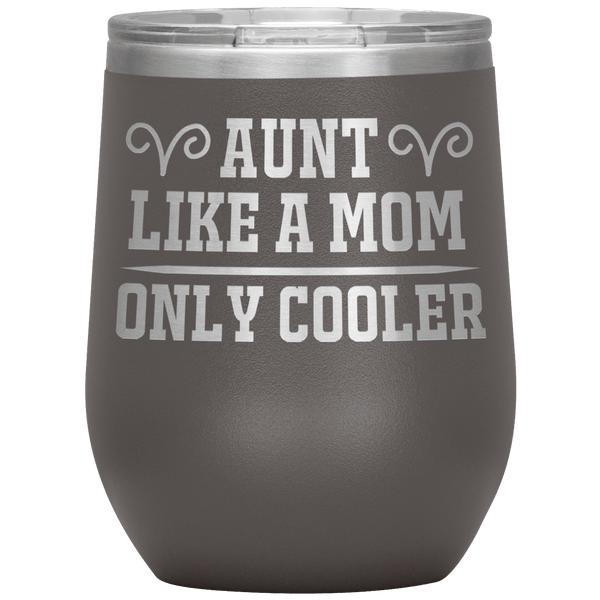 """ AUNT LIKE A MOM "" Wine Tumbler. Personalize Your Nickname Aunt, Auntie, or Write Your Nick Name Below."