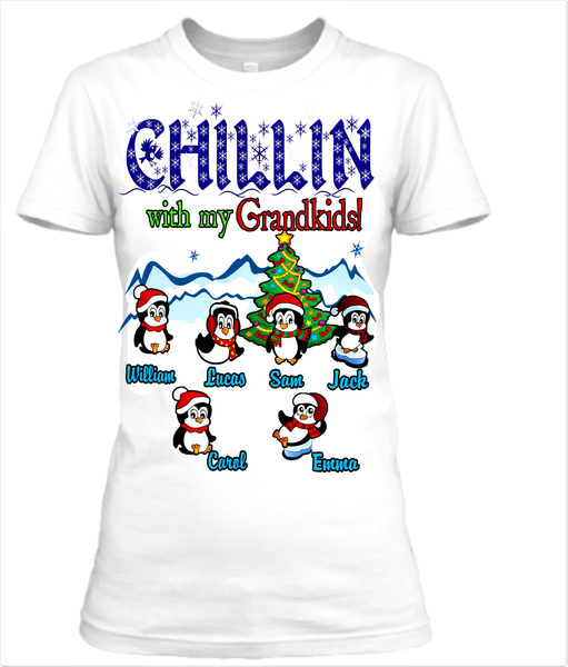 """Chillin' With My Grandkids"" Christmas Special(Flat 70% off) Get your little Penguins T-shirt and more. Most GrandParents/Parents Buy 2-3"