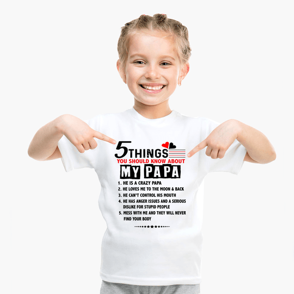 """5 Things You Should Know About My Dad/Grandpa"" KIDS T-SHIRT (50% OFF Today)"