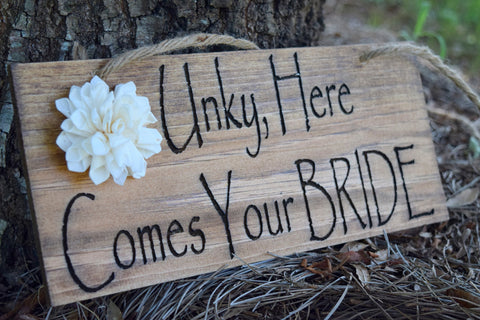 Hanging Here Comes The Bride Sign with Sola Flower