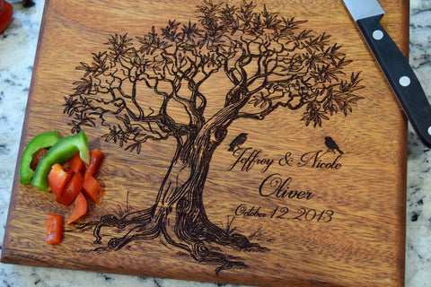 Tree Designed Cutting Board with Personalized Names & Date