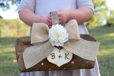 Burlap Bow Flower Girl Basket
