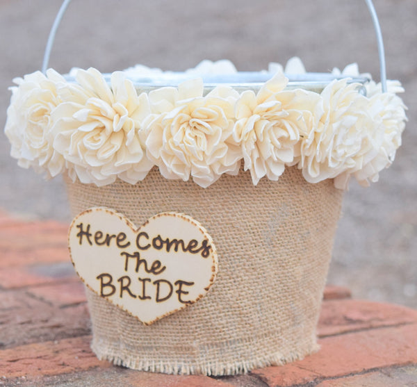 Here Comes the Bride Flower Girl Pail with Sola Flowers
