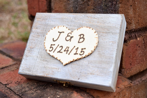 Personalized Distressed Wedding Ring Box