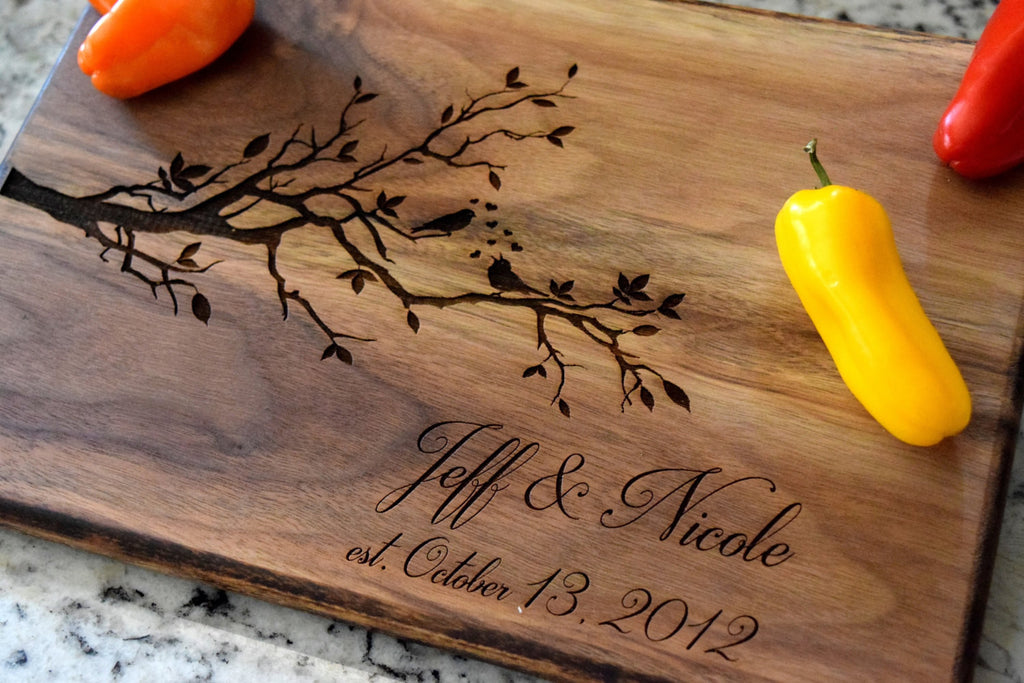 274a62f8c24 Personalized Love Birds Themed Cutting Board