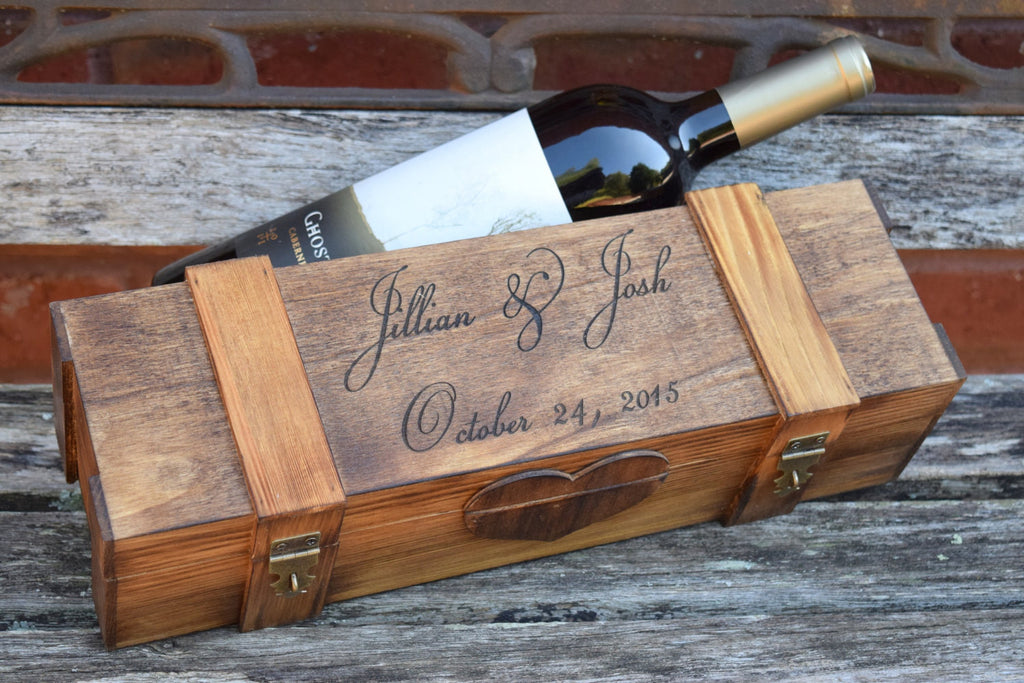 Personalized Wine Ceremony Box with 2 Lockable Hinges