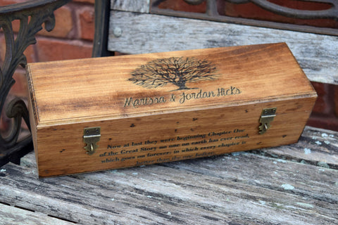 Personalized Flat Top Wine Box with 2 Lockable Hinges