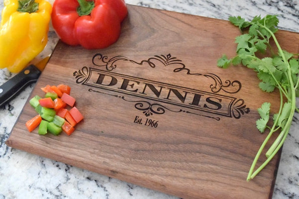 Personalized Cutting Board With Scroll Design