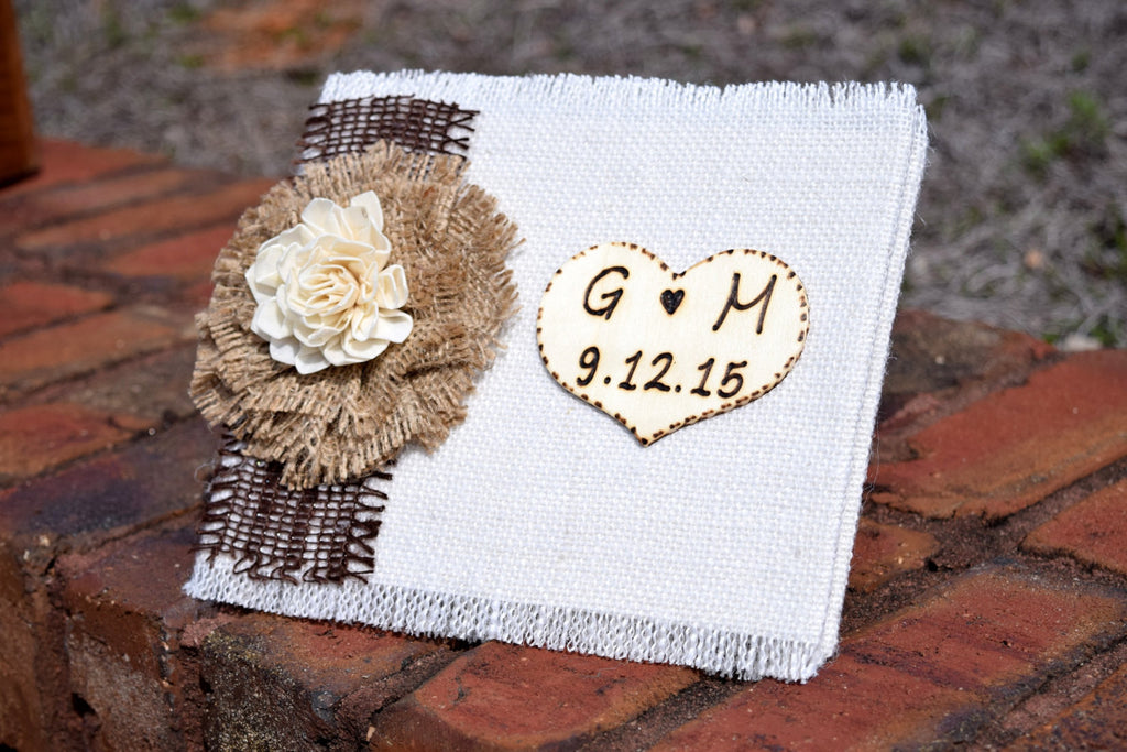 Burlap Wrapped Wedding Guest Book