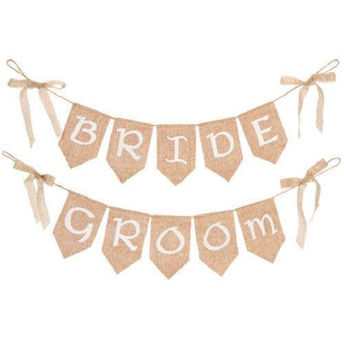 Burlap Banner Set - Bride and Groom - 26 x 5.5 inches