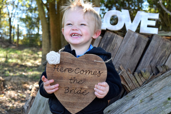 Engraved Here Comes The Bride Sign with Burlap Flower