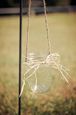 Set of 10 Hanging Pint Jars Ties with Raffia