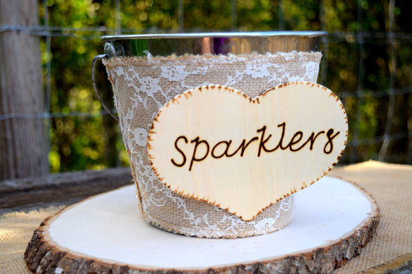 Burlap and Lace Wrapped Wedding Sparklers Pail
