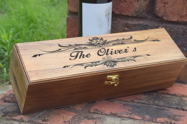 Personalized Flat Top Wine Box with Scroll Design