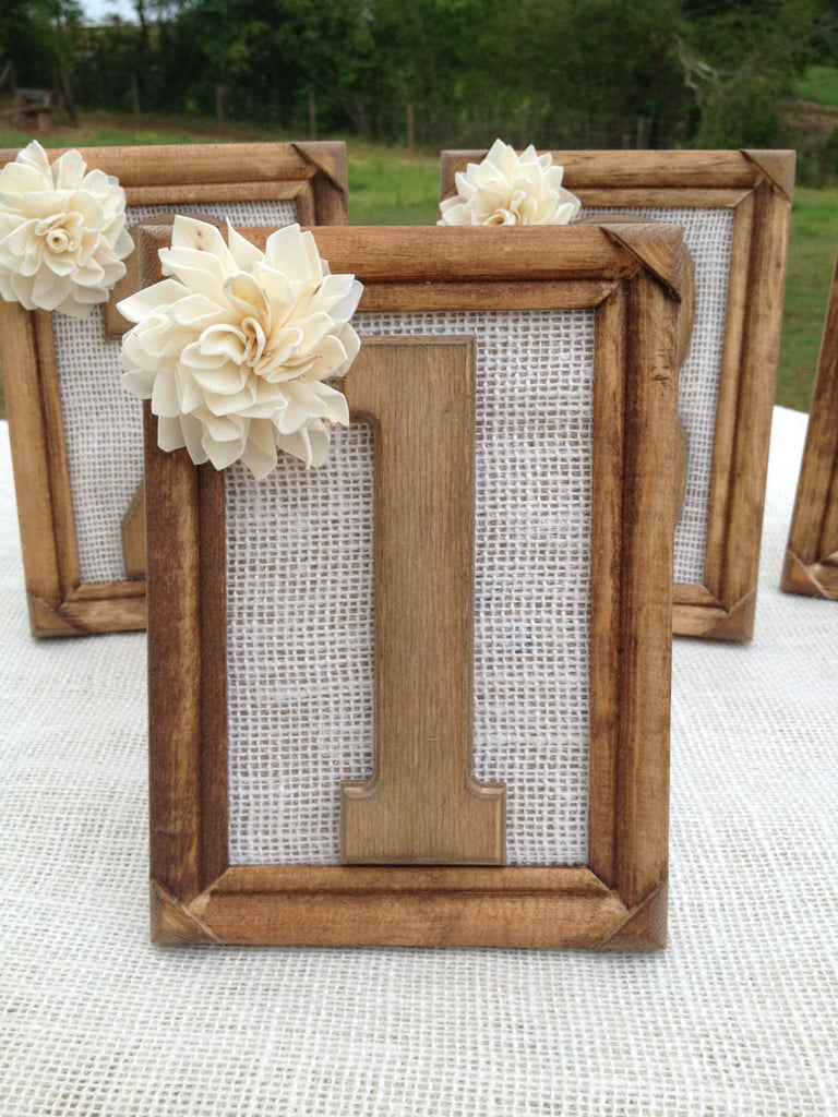 Burlap Framed Table Numbers with Sola Flower