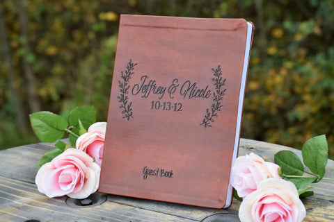 Leaf Designed Leather Guest Book