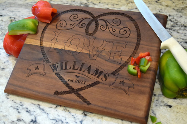 Roped Heart Cutting Board