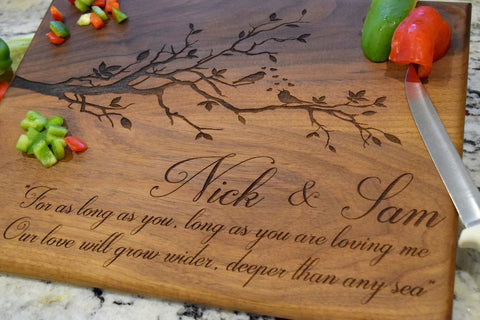 Personalized Love Birds Themed Cutting Board