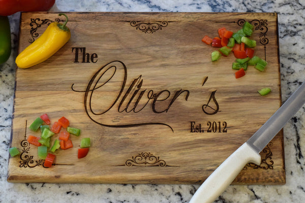 Personalized Cutting Board with Scroll Border