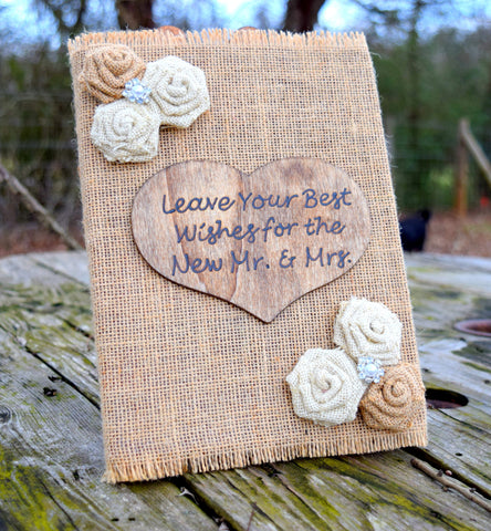 Burlap Rose Blank Page Guest Book