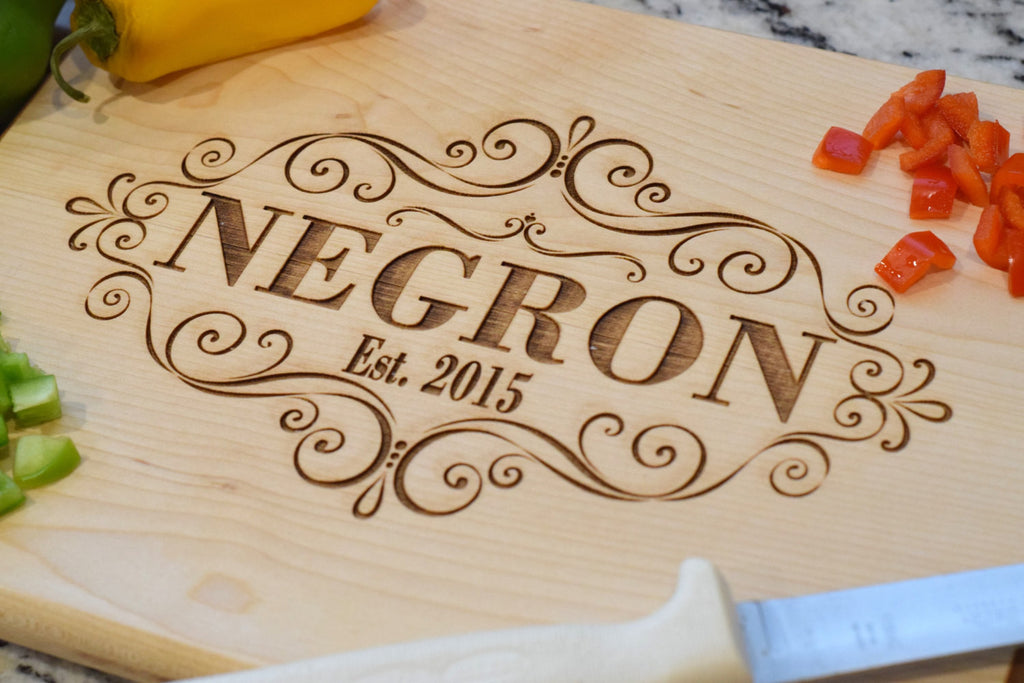 Personalized Laser Engraved Cutting Board with Scroll Design