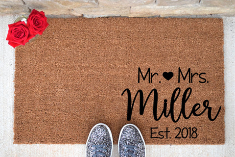 Mr and Mrs Personalized Doormat