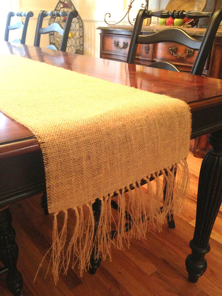 Burlap Runner with Knotted Fringed Ends
