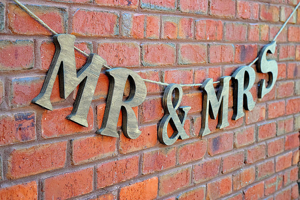 LARGE Mr and Mrs Wooden Hanging Wedding Sign