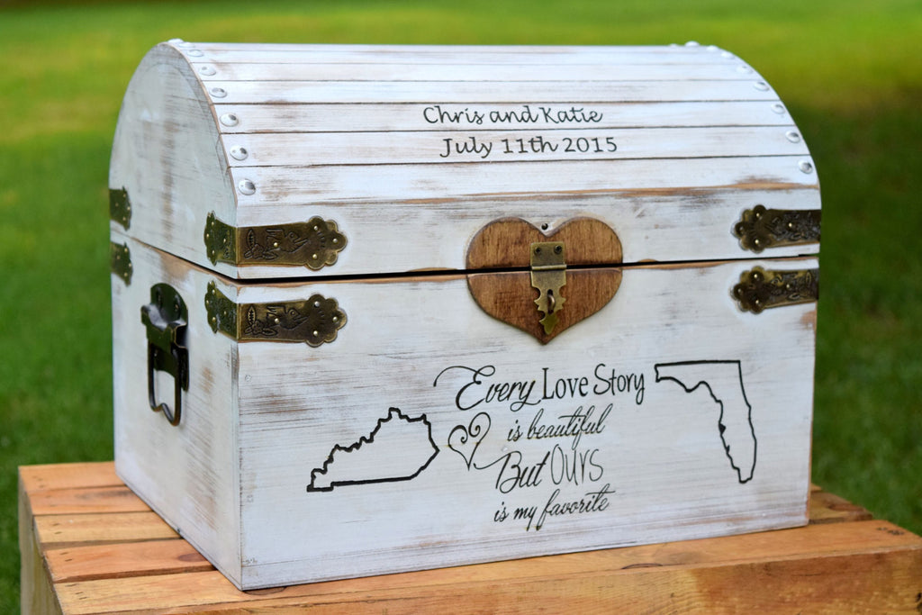 Large Distressed States Card Box Lockable with Card Slot